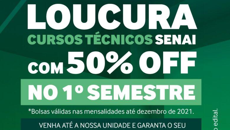 Senai oferece bolsas de 50% para cursos técnicos